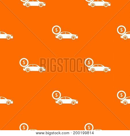 Car and dollar sign pattern repeat seamless in orange color for any design. Vector geometric illustration