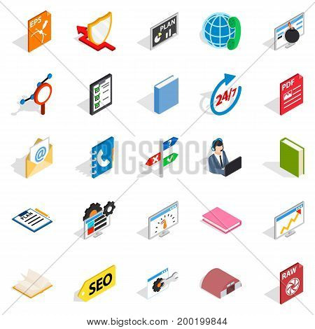 Learning icons set. Isometric set of 25 learning vector icons for web isolated on white background