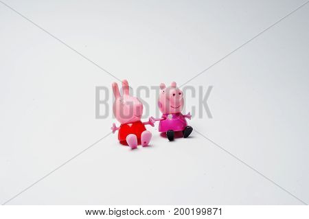 Hai, Ukraine - August 10, 2017: Some Toy Characters Sitting On The White Surface From The Popular Ca