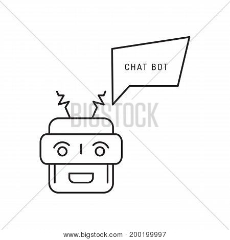 chatbot and speech bubble outline concept of app, media soft dialogue script, Robot outline icon style graphic logotype design isolated on white background