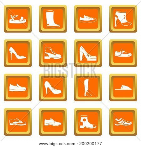 Shoe icons set in orange color isolated vector illustration for web and any design