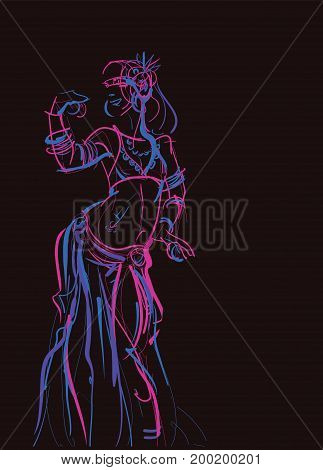 Tribal belly dancer holding cymbals in impressive expressive pose. Gesture line drawing of pose in motion. Designed for placard, poster, affiche, flyer, card