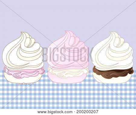 an illustration of three sweet meringue desserts with various flavors on a gingham tablecloth