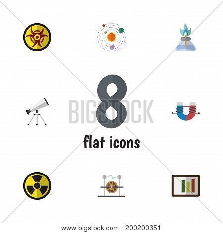 Flat Icon Science Set Of Flame, Irradiation, Scope And Other Vector Objects