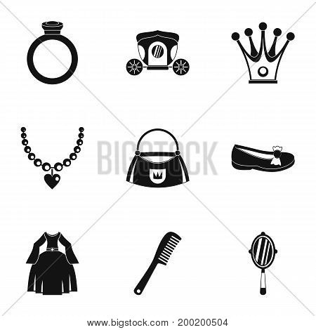 Princess things icon set. Simple style set of 9 princess things vector icons for web isolated on white background