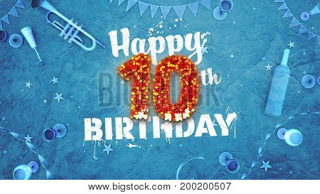Happy 10Th Birthday Card With Beautiful Details