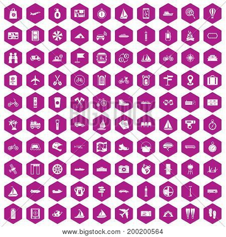 100 voyage icons set in violet hexagon isolated vector illustration