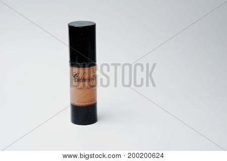 Hai, Ukraine - August 10, 2017: Close-up Photo Of A Tube With Liquid Foundation By Colordance On Whi
