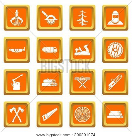 Timber industry icons set in orange color isolated vector illustration for web and any design