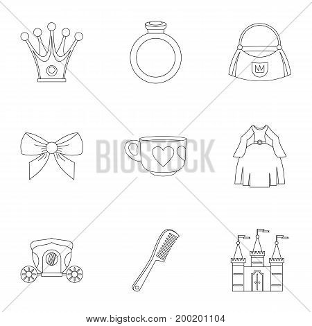 Little princess icon set. Outline style set of 9 little princess vector icons for web isolated on white background
