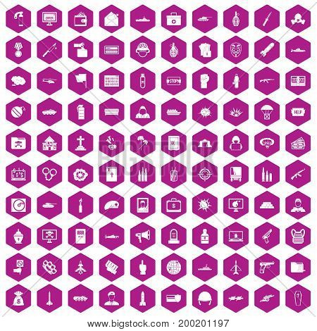 100 war icons set in violet hexagon isolated vector illustration
