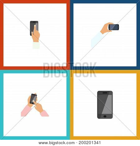 Flat Icon Phone Set Of Smartphone, Telephone, Touchscreen And Other Vector Objects