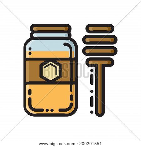 Honey jar and bamboo dipper, thin line flat style icon, vector illustration isolated on white background. Flat style beekeeping icon with honey jar and wooden dipper