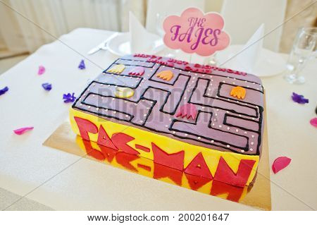 Hai, Ukraine - August 10, 2017: Delicious And Colorful Pac-man Cake On The Table.