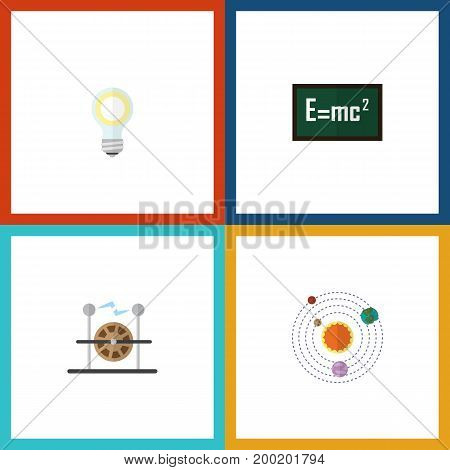 Flat Icon Science Set Of Electrical Engine, Milky Way, Theory Of Relativity And Other Vector Objects