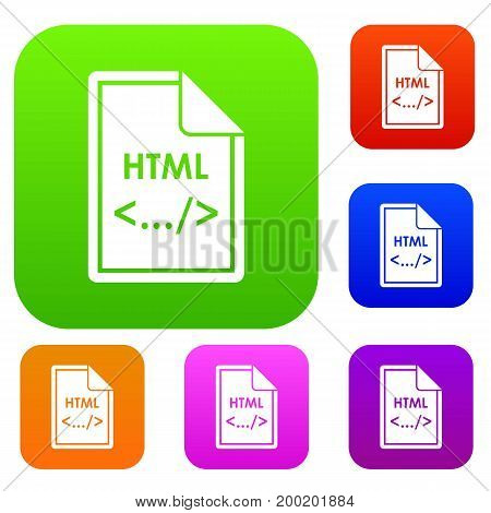 File HTML set icon in different colors isolated vector illustration. Premium collection