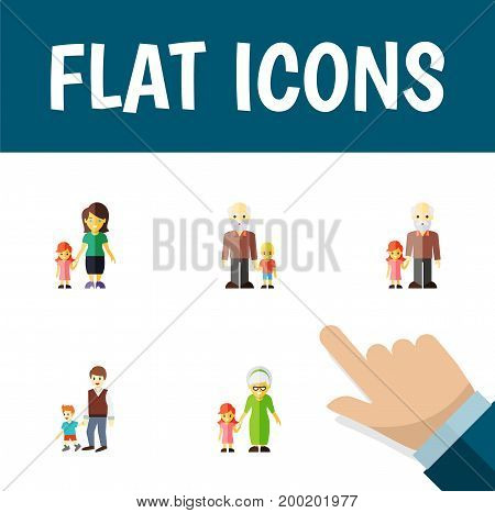 Flat Icon Relatives Set Of Grandpa, Grandchild, Grandson Vector Objects