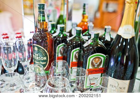 Hai, Ukraine - August 10, 2017: Bottles Of Jagermeister Herbal Liqueur On The Table Along With Other