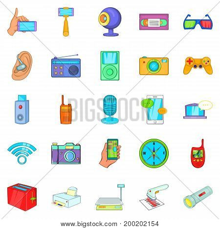 Gadget for entertainment icons set. Cartoon set of 25 gadget for entertainment vector icons for web isolated on white background