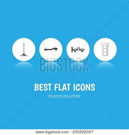 Flat Icon Auto Set Of Input Technology, Steels Shafts, Car Segment And Other Vector Objects