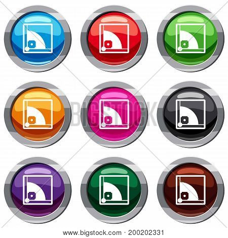Baseball field set icon isolated on white. 9 icon collection vector illustration