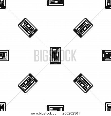 Phone innards pattern repeat seamless in black color for any design. Vector geometric illustration