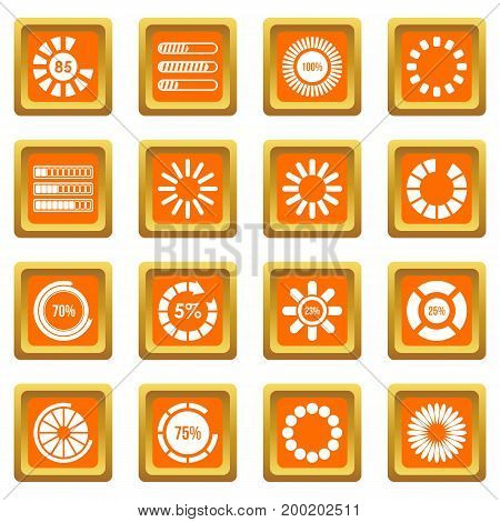 Loading bars and preloaders icons set in orange color isolated vector illustration for web and any design