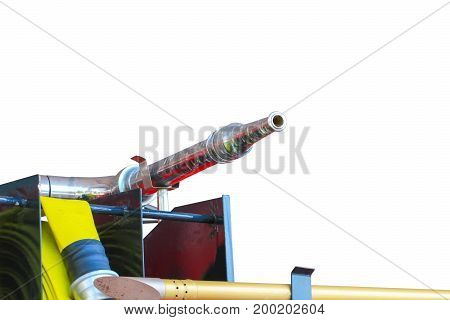 Fire Truck red and nozzle water isolated on white background and clipping path