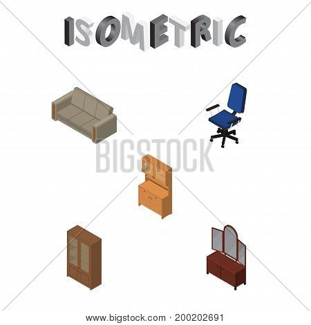 Isometric Design Set Of Cupboard, Drawer, Office And Other Vector Objects