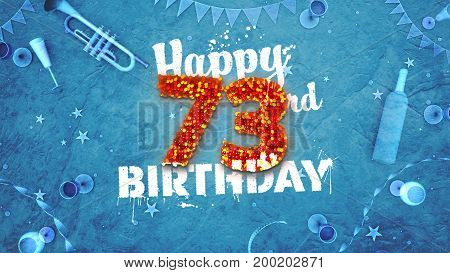 Happy 73Rd Birthday Card With Beautiful Details