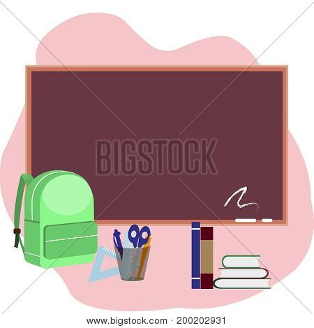 back to school. supplies and blackboard on pink background. Cool template with pen, line, bag and books. Vector illustration