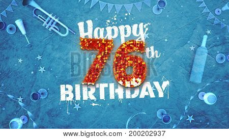 Happy 76Th Birthday Card With Beautiful Details