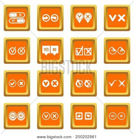 Check mark icons set in orange color isolated vector illustration for web and any design