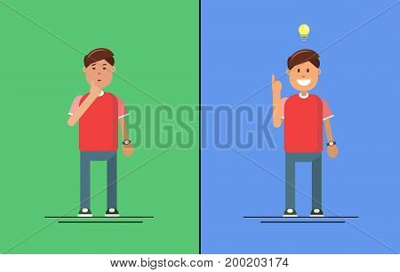 man thinking, man have an idea on green and blue background with yellow lightbulb. Cool man think on different backgrounds. Vector illustration