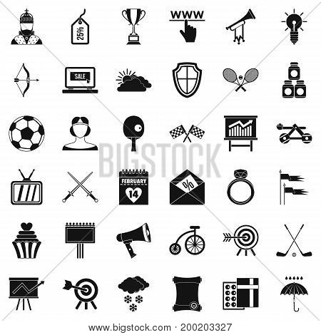 Arrow fly icons set. Simple style of 36 arrow fly vector icons for web isolated on white background
