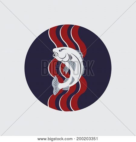 Fish on the waves and in the circle. Emblem. Design for printing on fabric or paper, a heraldic sign, a medieval knight, Tully House, fishing..