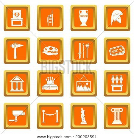 Museum icons set in orange color isolated vector illustration for web and any design