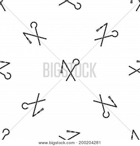 Rod and whip of Pharaoh pattern repeat seamless in black color for any design. Vector geometric illustration