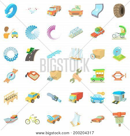 Auto repairing icons set. Cartoon style of 36 auto repairing vector icons for web isolated on white background