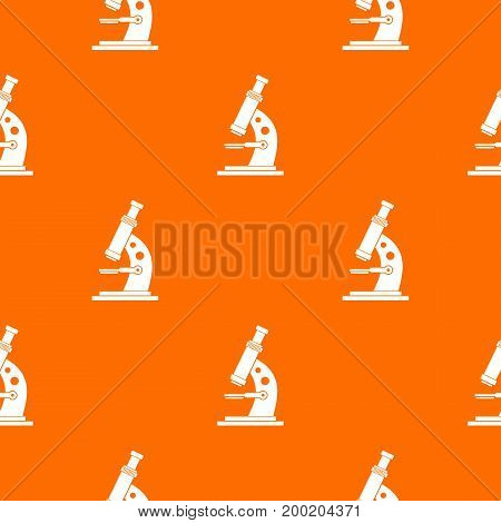 Microscope pattern repeat seamless in orange color for any design. Vector geometric illustration