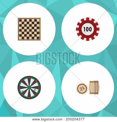 Flat Icon Games Set Of Lottery, Poker, Chess Table And Other Vector Objects