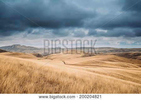 Gareja Desert, Kakheti Region, Georgia. Autumn Landscape Near Sagarejo Municipality, Kakheti Region.