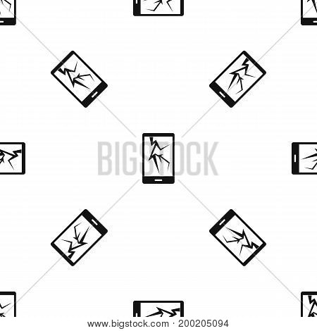 Cracked phone pattern repeat seamless in black color for any design. Vector geometric illustration
