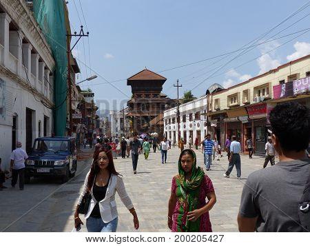 Durbar Square in Kathmandu, Nepal, september 4, 2015: Rush on the Kathmandu's Durbar Square