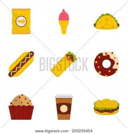 Unhealthy food icon set. Flat style set of 9 unhealthy food vector icons for web isolated on white background