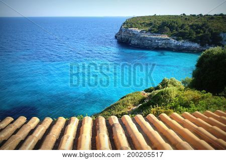 Blue harbor from the roof. Cala Romantica.