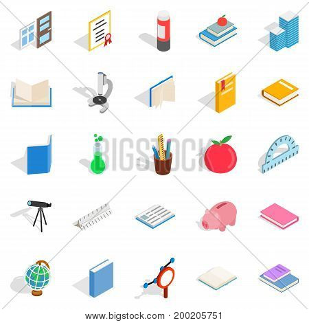 Higher educational institution icons set. Isometric set of 25 higher educational institution vector icons for web isolated on white background