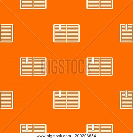 Open book with red bookmark pattern repeat seamless in orange color for any design. Vector geometric illustration