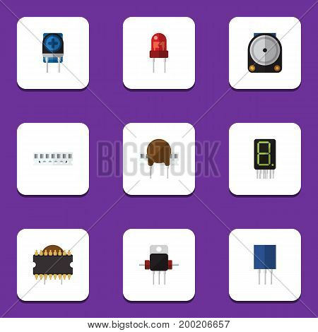 Flat Icon Device Set Of Memory, Receptacle, Microprocessor And Other Vector Objects