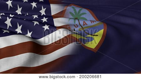 3D illustration of USA and Guam flag fluttering in strong wind.